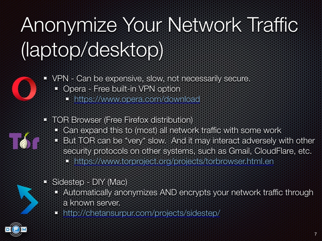 Anonymize Your Network Traffic (laptop/desktop) - VPN, TOR, Sidestep
